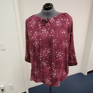 Maroon Blouse with Decorative Tie